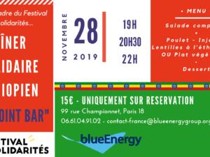 Dîner Solidaire Ethiopien #2 de blueEnergy leJeudi 28 Novembre !